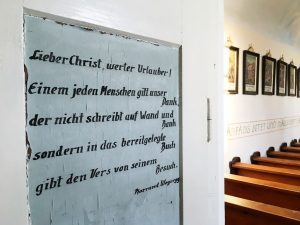 Inschrift in der Kapelle am Gahberg