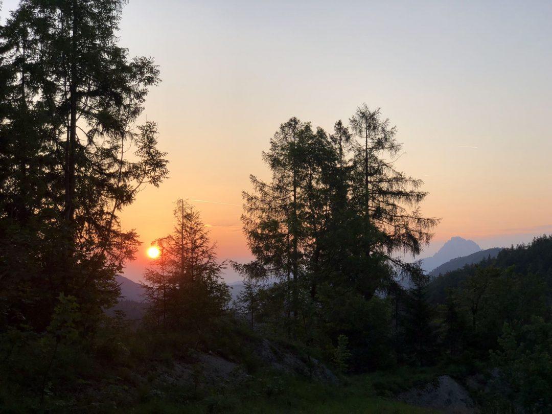 Hochlecken Aufstieg Blick zum Traunstein