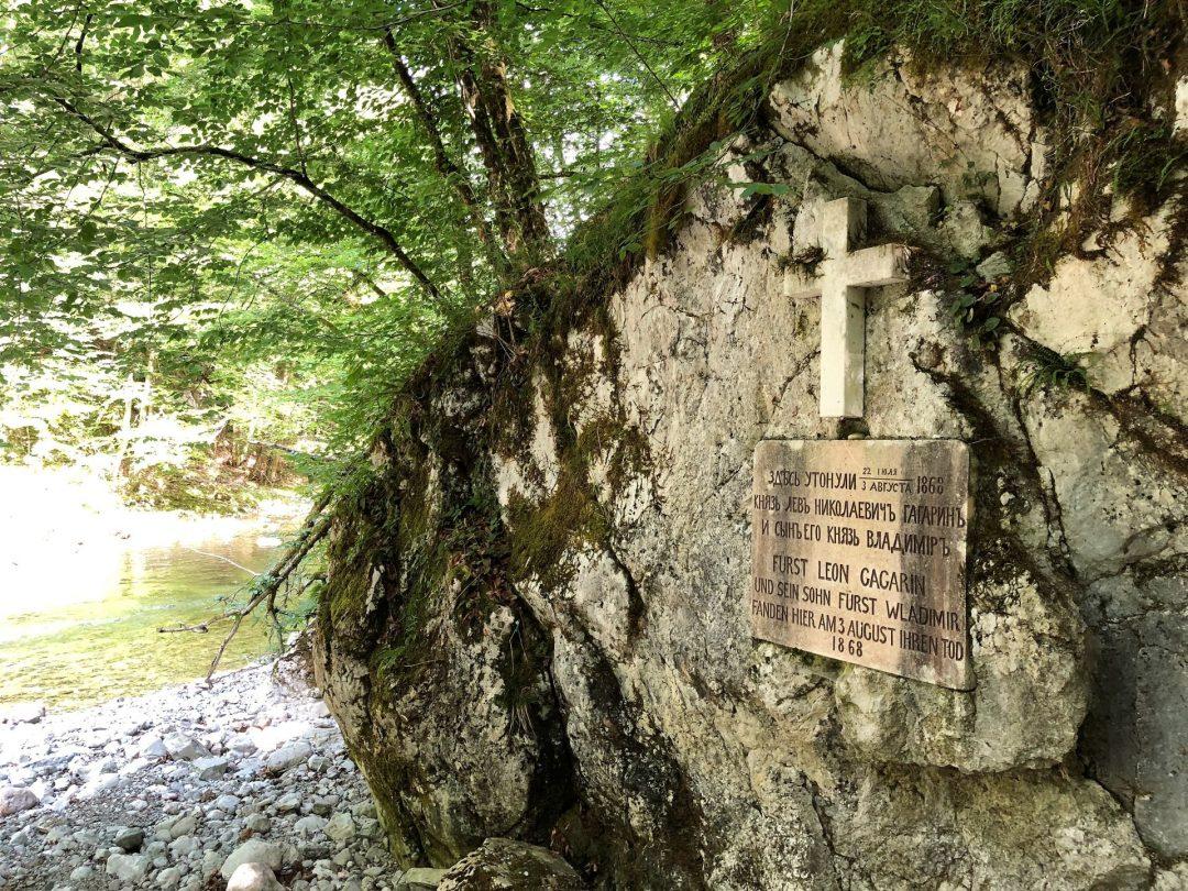 Gagarin Gedenktafel in der Rettenbachklamm in Bad Ischl